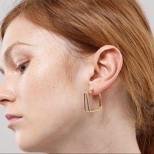 Minimalist S925 Post Gold Square Hoop Earrings